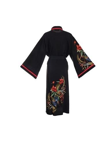 Women&Women Desenli Kimono  Siyah